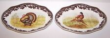 """NEW PAIR OF SPODE WOODLAND THANKSGIVING TURKEY/PHEASANT 8 1/2"""" PICKLE DISHES"""
