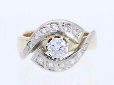 Vintage anillo 0,45 quilates Solitaire brillante 0,25 quilates de diamantes de oro 585