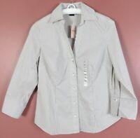TB06725-NWT ANN TAYLOR Women's Cotton Blend Blouse 3/4 Sleeve Gray White 8P $58
