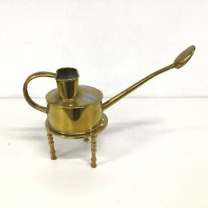 Vtg Haws Elliot England Brass Watering Can With Rose & Stand #939