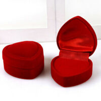 Velvet Red Heart Jewelry Box Ring Necklace Case Propose Wedding Gifts Box Hot