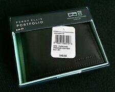Perry Ellis Men's Black Premium Leather Wallet/Billfold (New in box)