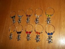 GRATEFUL DEAD BEAR Wine Glass Charms Marker set of 10