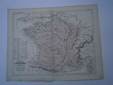 Carte 19° 1852  couleur atlas Malte brun la France par provinces et départements