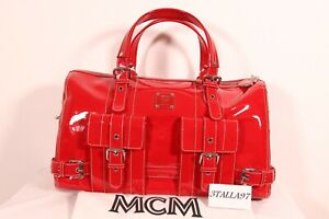 MCM RED PATENT LEATHER VINTAGE TOTE & DUST BAG. DEADSTOCK & RARE!
