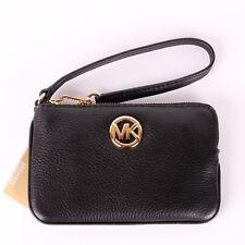 NWT Michael Kors FULTON Medium Top Zip Leather Wristlet Wallet in Various Colors