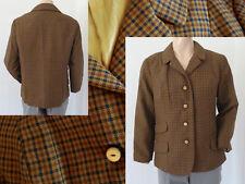 Original Vintage Jacke Blazer Schurwolle Braun Kariert Pattentaschen Gr 40 Top