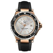 NEW GUESS COLLECTION GC WATCH 2 TONE ROSE GOLD & SS DATE BLACK STRAP X79003G1S