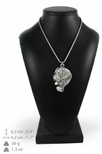 St. Bernard - silver plated necklace with silver cord, high quality, Art Dog