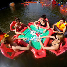 Inflatable Lounge Raft Pool Water Floating Texas Poker Table W/ Chair Seats Boat