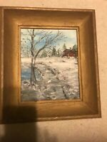PAINTING Framed by Winsor & Newton SNOW SCENERY OIL ON CANVAS BOARD by G. WYMAN