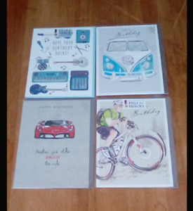 4 x birthday cards  16.5cm x 12.5cms assorted designs new in packs