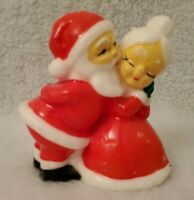 "Vintage 4.75"" Multi Color Christmas Winter Mr & Mrs Santa Clause Candle"
