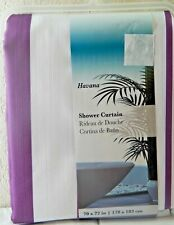Havana Purple White Striped Fabric Shower Curtain