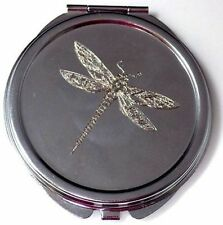 Dragonfly Engraved Metal Compact Makeup Wedding Favor New Mirror Case MEN-0002