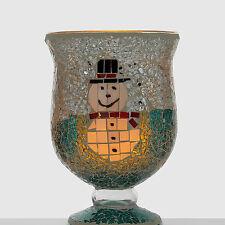 Großes Mosaik Glas mit Schneemann + LED-Echtwachskerze + Timerfunktion - Gläser
