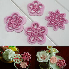 4Pcs Flower Stamp Molding Cutter Fondant Cake Biscuit Cookie Decorating