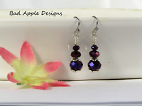 Stainless Steel Faceted Sparkling Royal Purple Crystal Earrings USA HANDMADE
