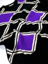GIANNI VERSACE VINTAGE '89 LOZENGE LILY WOVEN THICK SWEATER MEN KNIT PURPLE