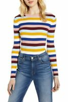 Halogen Even Striped Sweater Top Size L Fitted Crew Pink Multi NEW Tag $69 B40