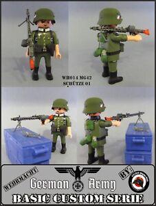 Playmobil Custom WW2 SOLDADO Ejército ALEMAN AMETRALLADORA MG42 GERMAN SOLDIER