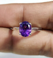 925 Sterling Silver Natural Amethyst Oval Cut Perfect Christmas Gift Ring US-7.2