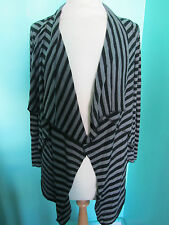 NEW LOOK BLACK/GREY STRIPE WATERFALL CARDIGAN SIZE 8