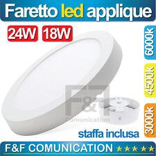 LAMPADARIO APPLIQUE FARETTO LED ESTERNO ROTONDO BIANCO NATURALE 18W 24W 6W 12W
