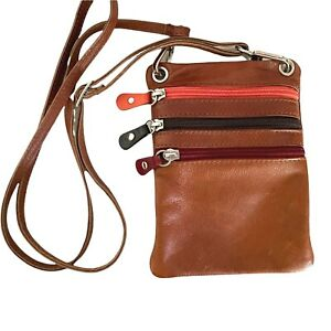 Leather Brown Crossbody Small Belt Bag Waist Pack Multiple Zipper Pockets Travel
