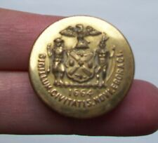 5 Vintage Gold Metal Buttons- Waterbury Button Co- Seal with 1664 eagle