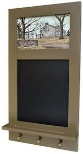 """CHALKBOARD WITH PEG HANGERS ~ """"STONE COTTAGE"""" PRINT BY FOLK ARTIST BILLY JACOBS"""