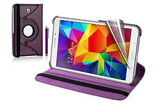 """360 Leather Magnet Smart Stand Case Cover for Samsung Galaxy Tab 4 T230 7"""" Purple"""