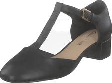 Clarks BNIB Ladies Smart T-Bar Shoes ORABELLA HOLLY Black Leather UK 6 / 39.5