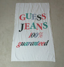 VINTAGE Guess Jeans Towel White Green Spell Out ASAP Beach Pool 90s *