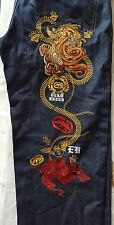 Ecko Unltd Baggy Fit  Dark Blue Jeans Red Dragon Elaborate Embroidery 38 (40x34)