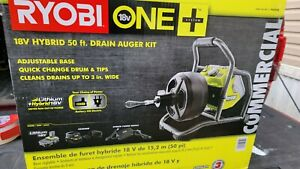 ONE+ 18V Hybrid Drain Auger Kit With 50ft Cable + Battery + Charger Accessories
