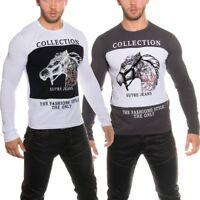 Maglia uomo maniche lunghe maglietta cotone t-shirt girocollo stampata nuova