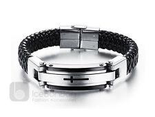 Men's Cross Stainless Steel Black Tone Braided Leather Bracelet - USA Seller