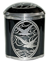 Duncan and Miller #50 Hostess Cigarette Jar with Silver Overlay