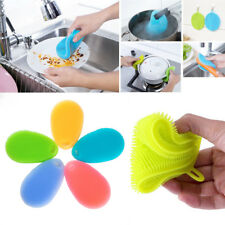 RED Silicone Dish Scrub Sponge Multifunction Washing Clean Tool Kitchen Supply