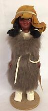 Vintage Native American Girl w/sleepy eyes Doll w/fur and Leather Hat & Shoes