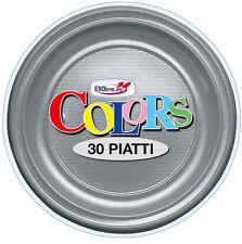 PIATTI PIANI DOPLA IN PLASTICA MONOUSO ARGENTO CF.30 PZ.COORDINATO PARTY TINTA U