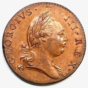 1773 27-J R-2 7 Harp Strings Virginia Colonial Copper Half Penny 1/2p