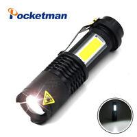 Portable LED Flashlight Q5+COB Mini Black 20000LM Zoom LED Torch penlight 14500