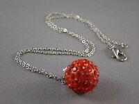 Shamballa Necklace Pendant Czech Crystal Clay Disco Ball Silver 16 MM + Necklace