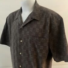 Hobie Vintage 90s Men's SS Button Front Casual Shirt Large Beige 100% Cotton