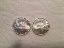 2 X 1965 CANADIAN UNCIRCULATED SILVER DOLLARS