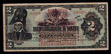 HAITI   2  GOURDES   L. 1919    SIX DIGIT PICK # 141  FINE+