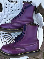 Doc Martens Very Rare  Shellys 1460 8hole Purple Ladies Leather  Boots Uk3/4 VGC