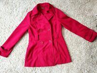 JouJou Woment's Trench Coat Jacket Fushia Size Small